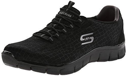Skechers Sport Women's Rock Around Fashion Sneaker,Black Shimmer,8.5 M US