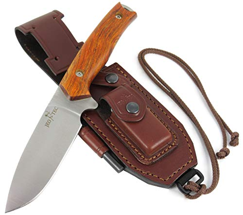 JEO-TEC Nº21 Bushcraft Survival Hunting Tactical Knife - BOHLER N690C Stainless Steel, Multi-positioned Leather Sheath, Sharpener Stone & Firesteel Included - Handmade