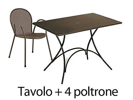 Tavoli E Sedie Da Giardino Emu.Emu Set Da Esterno Tavolo Pigalle 120x76cm 4 Poltrone Ronda Marrone