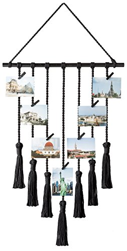 Mkono Hanging Photo Display Pictures Organizer Macrame Wall Decor, with 25 Wood Clips