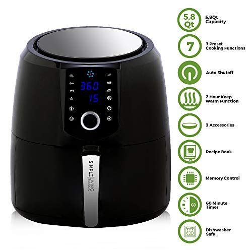 Simple Living XXL 5.8QT Digital Air Fryer. Custom Recipe Book, 3 Accessories & Heat Preservation Function