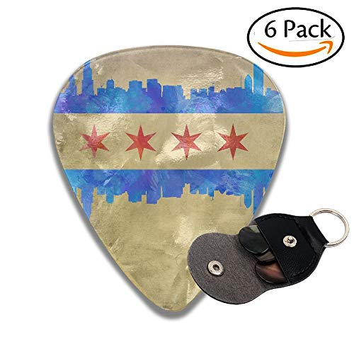 Chicago Skyline Flag Celluloid Guitar Picks Plectrums Guitar Bass Accessories, 6 Pack.71mm ()
