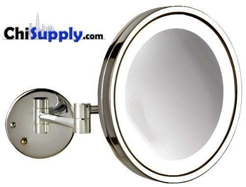 Jerdon HL1016CL 9.5-Inch LED Lighted Wall Mount Makeup Mirror with 5x Magnification, -