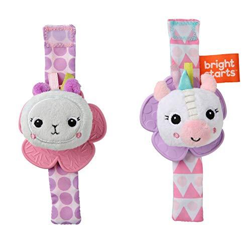 Bright Starts Rattle & Teethe Wrist Pals Toy, Unicorn & Llama, Newborn +
