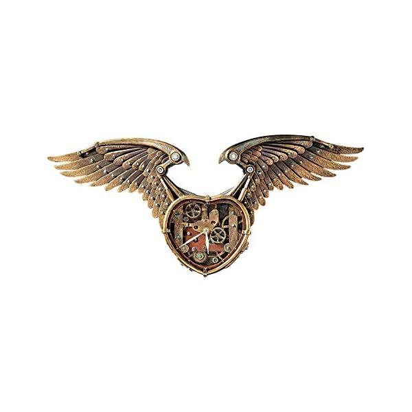 Design Toscano Steampunk Winged Heart Sculptural Wall Clock 3