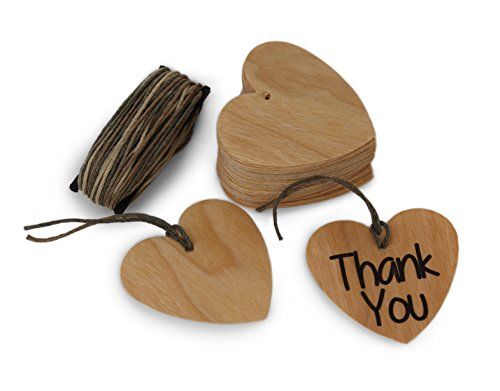 Dry Erase Permanent Marker (CHERRY Wood Gift Tags Heart Shape 50 count with 30 Feet of Free Cut MultiColor Cord, Blank Hang Tags for Craft Projects, Xmas Gifts. Dry Erase & Permanent Marker Erasable.)