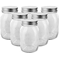 Golden Spoon Mason Jars, With Regular Lids, and Lids for Drinking, Regular Mouth, Dishwasher Safe, BPA Free, (Set of 6) (16 oz/Pint)