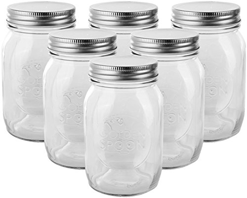 Golden Spoon Mason Jars With Regular Lids and Lids for Drinking Regular Mouth Dishwasher Safe BPA Free Set of 6 16 oz/Pint