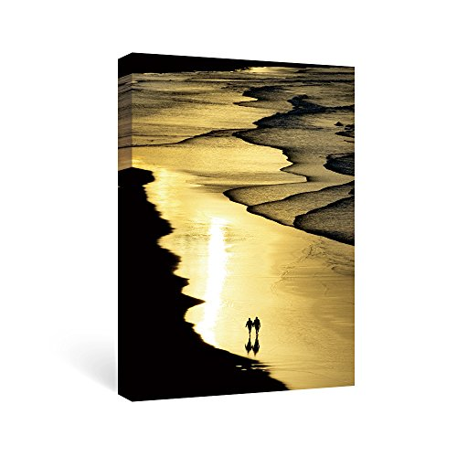 SUMGAR Abstract Wall Art Bedroom Gold Pictures Black Canvas Paintings Beach Artwork Prints,16x24in