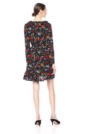 kensie Girl  Flutter Sleeve Tie Neck A Line Dress  Black Large