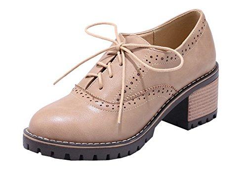 Allhqfashion Womens Pu Tacco A Spillo Tacco Alto Con Lacci Scarpe-scarpe Con Tacco Beige