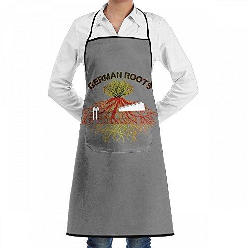Wodehous Adonis German Roots Germany Flag Bling Bling Adjustable Bib Kitchen Apron With Pockets For Women Men Chef (Bling Basic Grey)