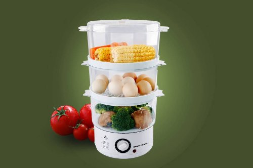 Ovente 3-Tier Electric Steamer for Vegetables and Food with Timer, 7.5-Quart, 400-Watts, Auto Shut-Off Feature, White (FS53W) by OVENTE (Image #2)