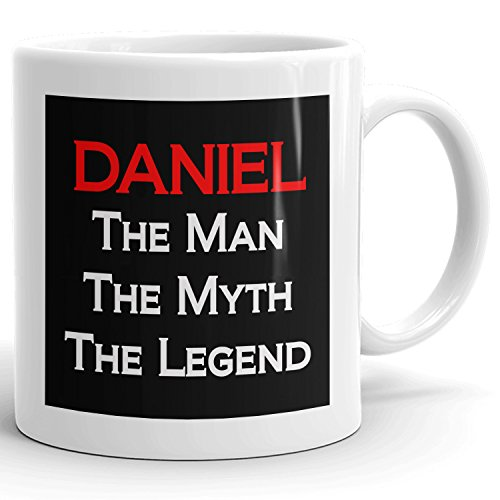 Daniel Coffee Mugs - The Man The Myth The Legend - Best Gifts for men - 11oz White Mug - Red