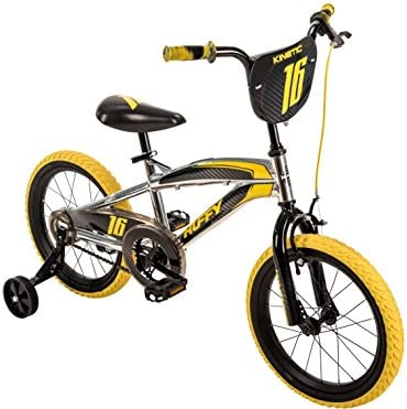16 Huffy Kinetic Kid Bike, Yellow w Removable Training Wheels