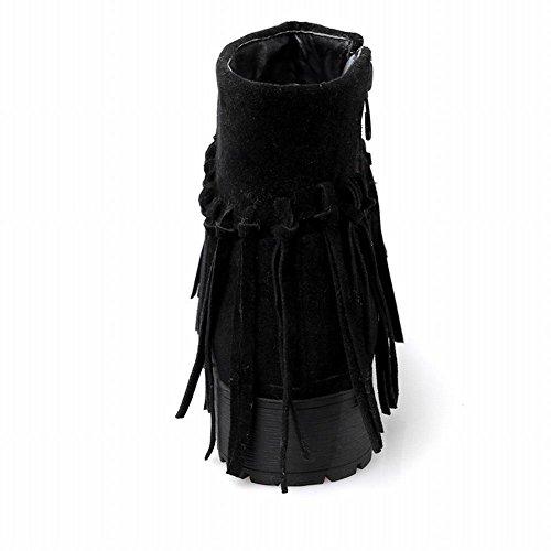 Carolbar Womens Zip Nappe Comfort Retro Moda Tacco Basso Stivaletti Neri