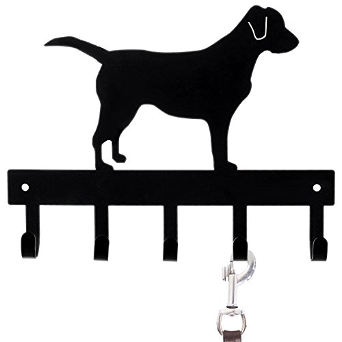 MyGift Wall-Mounted Black Metal Labrador Silhouette Key & Dog Leash ()