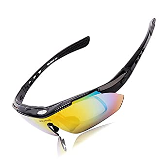 96528ea392 Black   WOSAWE Polarized Sunglasses Windproof Cycling Sunglasses Mtb  Fishing 5 Leans Prescription Motorcycle Glasses Bike for Men Women  Amazon. in  Clothing ...