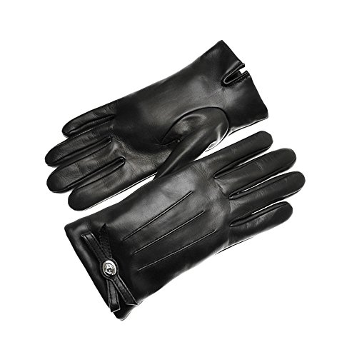 COACH WOMEN TURNLOCK BOW LEATHER MERINO WOOL GLOVE F55189 BLK ()