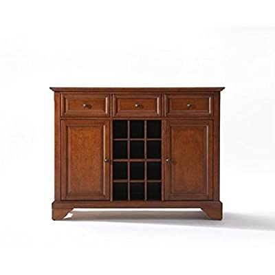 Crosley Furniture LaFayette Wine Buffet / Sideboard - Classic Cherry - Three deep drawers with raised panel fronts Solid hardwood and veneer construction Handle rubbed, multi-step finish - sideboards-buffets, kitchen-dining-room-furniture, kitchen-dining-room - 41nK6Zsr1iL. SS400  -