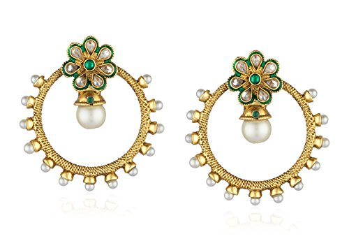 Ava Traditional Drop Earrings for Women (Golden) (E-VS-036)