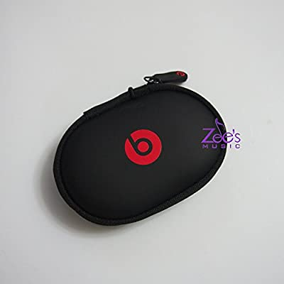Zee's Music Black Zipper Earphones Carrying Case for Beats Monster by Dr.Dre , Power Beats 2, Power Beats Wireless, Tour , Heart Beats by Lady Gaga , Diddy Beats , Power Beats , Street by 50 , Monster by Miles Davis In-Ear Earphone Mobile Hands-Free Heads