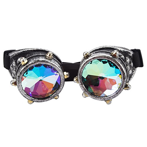 Careonline Festivals Kaleidoscope Gloth Vintage Rainbow Prism Sunglasses Steampunk Goggles Adjustable Bands - Eye Related Halloween Costumes