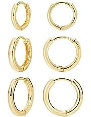 3 pairs 14K Gold Plated Huggie Hoop Earrings for Women, Minimalist Gold Huggie Hoop Earrings, Simple 3 sizes Hoop Earrings for Women Men gift,Gold and Silver