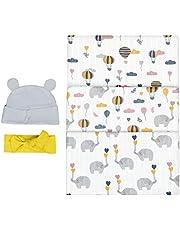 Bubzi Co Mantas Swaddle Bebé de Envoltura de Muselina Elefante El Dibujo 120cm x 120 cm - Multiuso Paquete de 3 Mantas Cuadradas Grandes para Envolver Bebés Recién Nacidos, de Algodón -Regalo de Baby