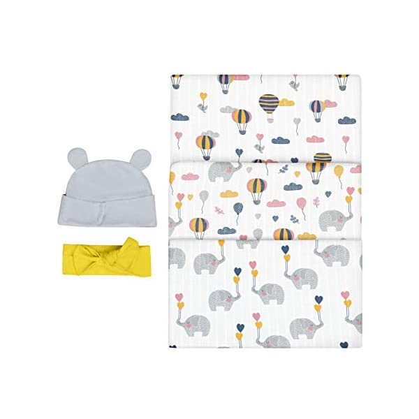 Bubzi Co Elephant Swaddle Muslin Receiving Blanket Set – Pack of 3 –Gender Neutral Design -Soft 100% Cotton Fabric – 47 x 47 inch- 120 x 120cm – Infant Swaddling Blankets for Baby Registry Burp Diaper