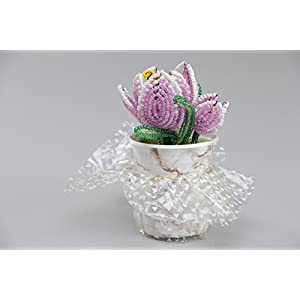 Beautiful Artificial Flowers Hand Woven Of Chinese Beads In The Shape Of Violet Crocuses 2