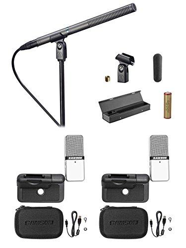 Audio Technica AT897 Shotgun Condenser Microphone+Case+(2) Samson GO Mics+Cases
