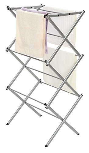 "STORAGE MANIAC 3-tier Folding Anti-Rust Compact Steel Clothes Drying Rack - 22.44""x14.57""x41.34"""