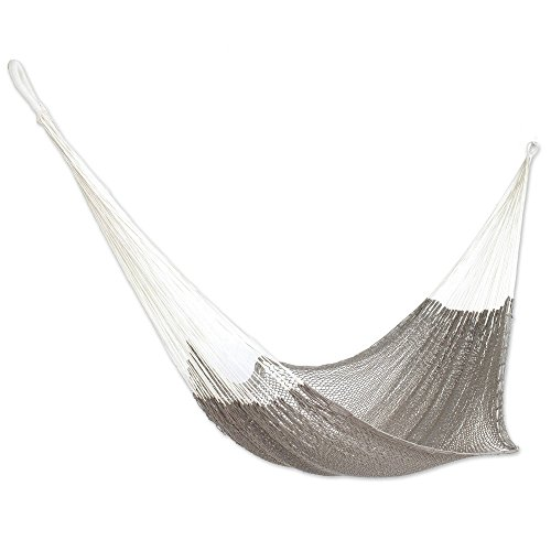 NOVICA Grey Hand Woven Cotton Mayan 1 Person Rope Hammock with Hanging Accessories, Ashen Beach