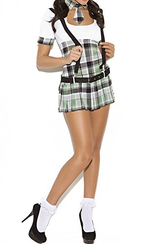YNChiffonier Fashion Sexy Naughty Schoolgirl Prep School Priss Roleplay Costume, Large, White/Plaid as pictureLarge