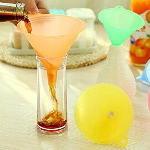anruo 5 Stück 5 Größe Flüssigöl Trichter Verschiedene Kits Farbe Kunststoff Trichter kleine mittel große Vielfalt Flüssigkeit Trichter Küche Laborbedarf