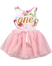 Baby Girls 1st Birthday Cake Smash Tutu Dress Princess Sleeveless Floral Romper Top with Tutu Skirt Outfit