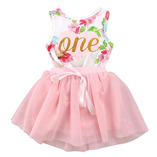 (Newborn Baby Toddler Girls Summer Sleeveless Flower Bodysuit Tutu Skirt Set First Birthday Party 2PCS Clothes Outfit 12-18 Months )