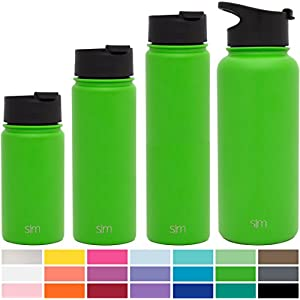 Simple Modern 14oz Summit Water Bottle + Extra Lid - Vacuum Insulated Stainless Steel Wide Mouth Hydro Travel Mug - Kids Double-Walled Small Flask - Candy Apple Green