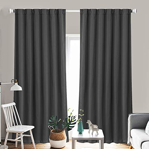 Blackout Curtains Thermal Insulated Drapes, Room Darkening Rod Pocket and  Energy Efficiency Window Curtains for Bedroom (W 52