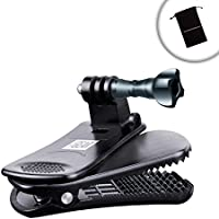 Action Camera Clip Mount by USA Gear with Injection Molded Durable Plastic , 360 Degree Rotating Head & J-Hook & Screw Adapter - Attach it to your Hat, Visor, Backpack & moreIncludes Cleaning Cloth
