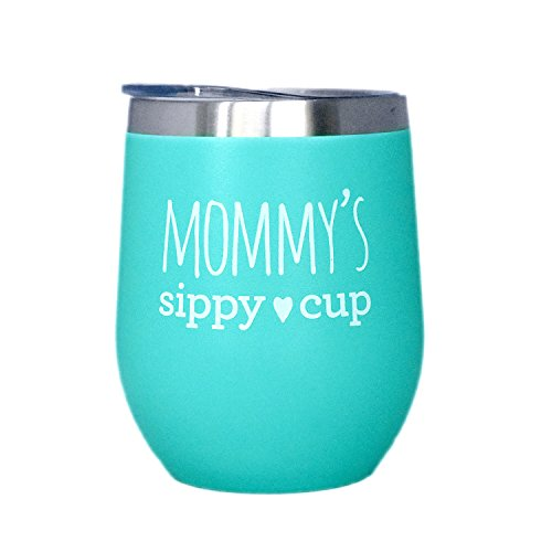 Mom Tumbler - Mommy's Sippy Cup - 12 oz Stainless Steel Stemless Wine Tumbler with Lid - Wine Tumbler Sippy Cup for Moms by SassyCups (Image #2)