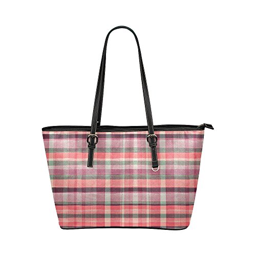 InterestPrint Red Checkered Plaid Elegant Gingham Check Leather Tote Shoulder Bags Zippered Handbags for Women ()