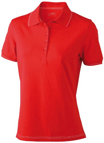 James & Nicholson Funktionspolo Elastic - Polo Mujer, Rojo (red/white), Medium (Talla del fabricante: Medium)
