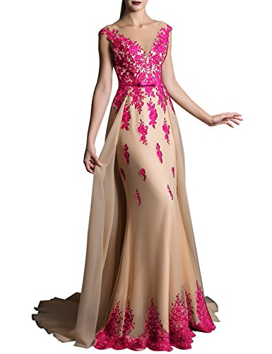 YIRENWANSHA Long Lace Appliqued Prom Dresses Plus Size Evening Gown With Sweep Train Empire Waist With Sash Bow V Neck Cocktail Dresses 2018 Formal Celebrity EV429 Hot Pink Champagne Size 16 ()