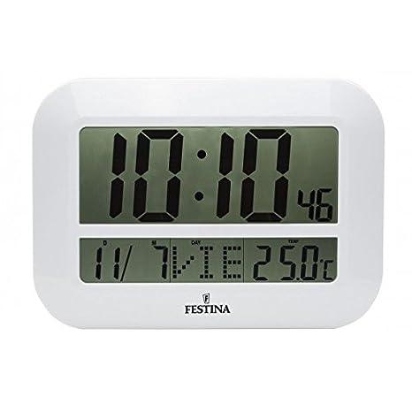 Festina - Reloj Digital de Pared o sobremesa FD0064 - Blanco: Amazon.es: Hogar