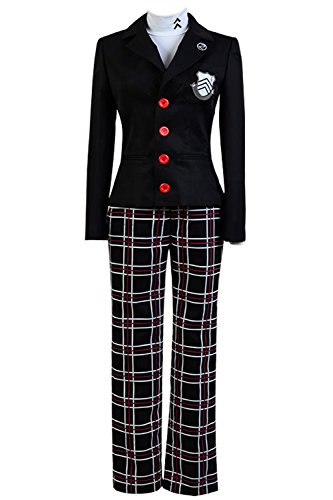 Ya-cos Persona 5 Protagonist Jacket Coat Top Cosplay Costume Attire Outfit Suit Uniform, Black, Large