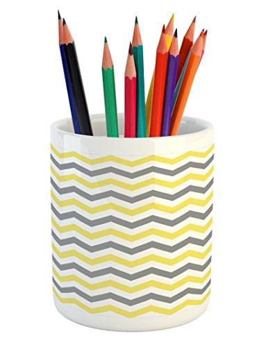 Lunarable Geometric Pencil Pen Holder, Horizontal Chevron Pattern Zigzag Endless Simplicity Artful Design Print, Printed Ceramic Pencil Pen Holder for Desk Office Accessory, Grey Yellow White