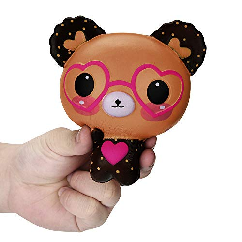 (CocoMarket Toy-Squishy Love Cute Glasses Bear Scented Squishy Charm Super Slow Rising Squeeze Toys Stress Reliever Toy)