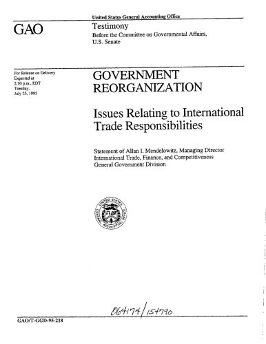 Government Reorganization: Issues Relating to International Trade Responsibilities